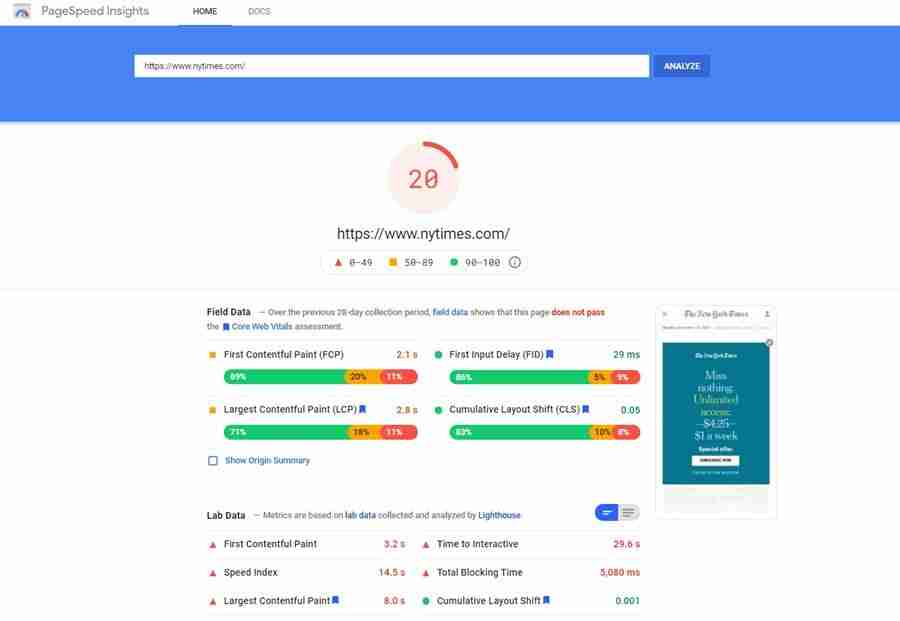 Core Web Vitals - Page Speed Insights